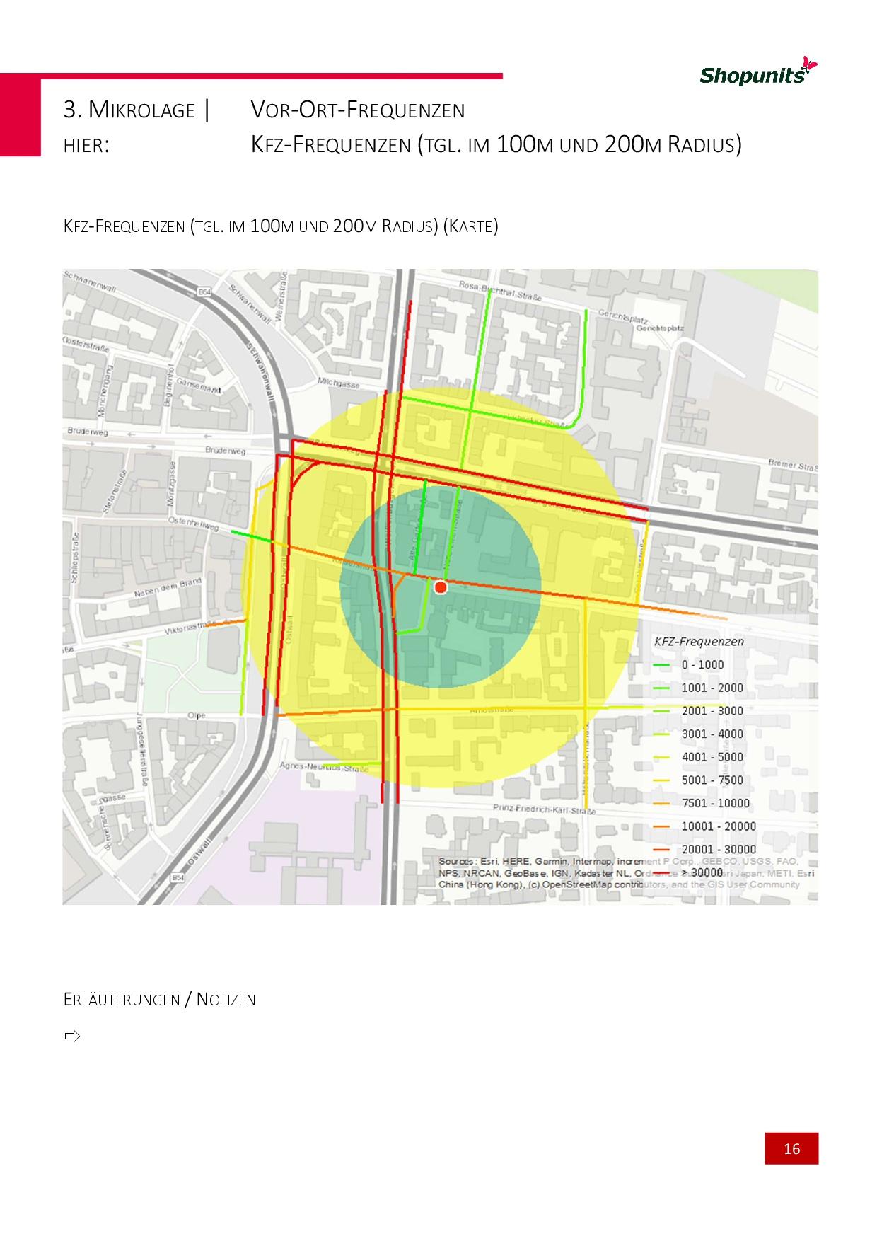 Go*Local - Online-Analysen für Markt, Standort und Wettbewerb, hier: Kfz-Frequenzen (tgl. im 100m - 200m Radius)