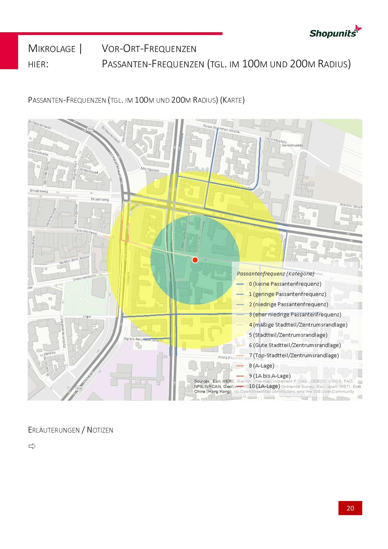 Go*Local - Online-Analysen für Markt, Standort und Wettbewerb, hier: Passanten-Frequenzen (tgl. im 100m - 200m Radius)