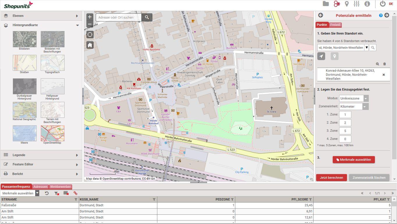 Go*Local - Online-Analysen für Markt, Standort und Wettbewerb, hier: Detailkarte