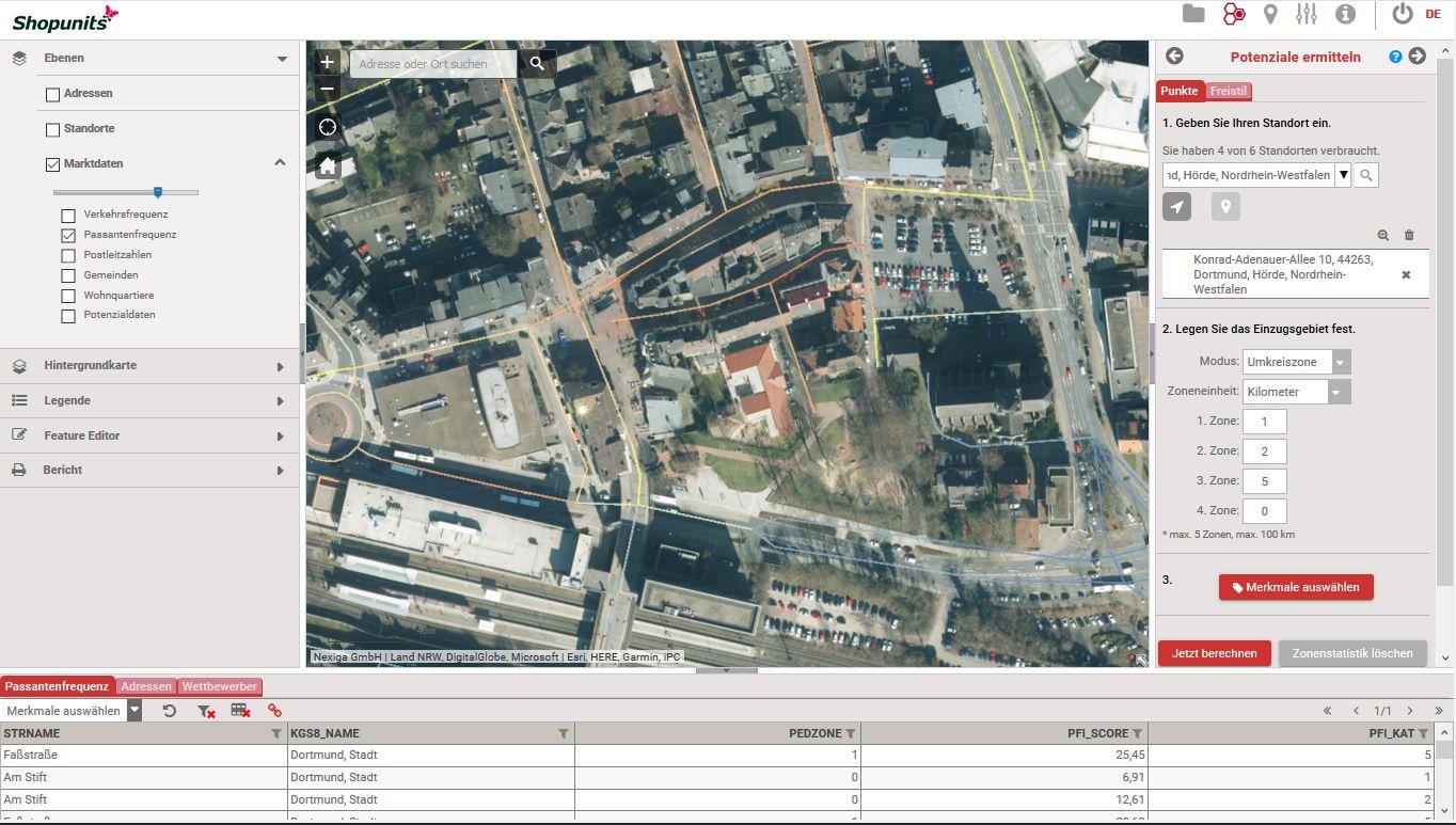 Go*Local - Online-Analysen für Markt, Standort und Wettbewerb, hier: Passanten- bzw. Lauffrequenzen