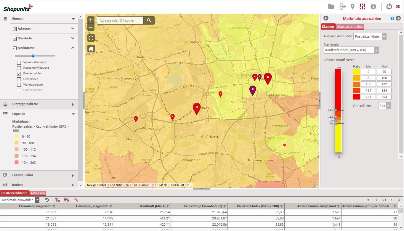 Go*Local - Online-Analysen für Markt, Standort und Wettbewerb, hier: Filiale als Kartenpunkt (z.B. eigene oder Wettbewerber) nach Umsatz und Verkaufsfläche
