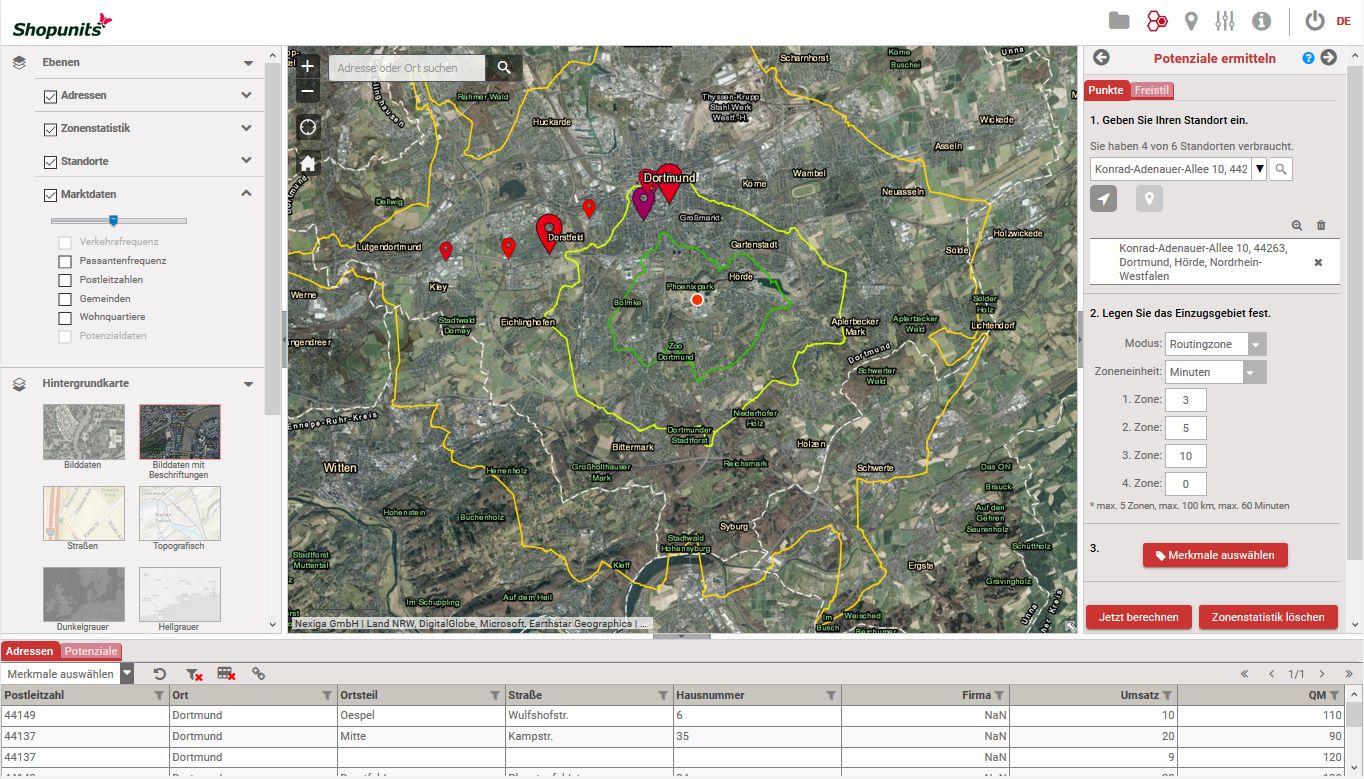 Go*Local - Online-Analysen für Markt, Standort und Wettbewerb, hier: Wettbewerbsbeurteilung einer Filiale anhand des Einzugsgebietes