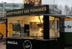 Verkaufsstand, Verkaufskiosk: Imbiss Center mit ausziehbarer Theke - shopunits.de